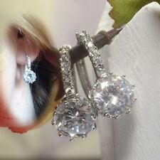 Elegant Silver Plated Clear WHITE CLEAR Crystal Hoop Earrings Jewelry UK
