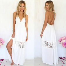 Sexy Women White Hollow Boho Beach Long Maxi Dress Backless Sundress S M L XL