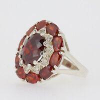 Silberring mit Granat Zirkonia Farbe Unicat Damen Ring roter Stein – 925 Silber