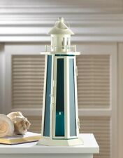 "20  Nautical Lighthouse Candle Lantern White w/ Blue Glass Centerpieces 13"" High"