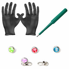 Dermal Anchor Piercing Kit  14G 4mm Top Gems Dermal Bases Puncher And Gloves 8pc
