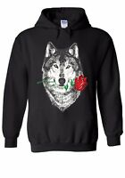 Red Rose Wolf Draw Retro Funny Men Women Unisex Top Hoodie Sweatshirt 1577