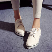New Womens Casual Pumps Pointed Toe Shoes Synthetic Leather Lace Up Flat Loafers