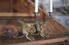 2 antiguos candiles dragón fabeltier 19jh latón fundido Antique Candle Holder