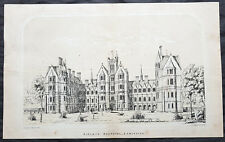 1865 John Cunningham Antique Lithograph Ripleys Hospital Lancaster - St Thomas