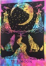 Crying Wolf Moon Tapestry Hanging Multi Color Tie Dye Wall poster size