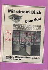 WETZLAR, Werbung 1936, Wetzlarer Möbel-Werkstätten GmbH