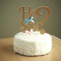 He or She Gold Silver Glitter Gender Reveal Pink Blue Cake Topper Baby Shower