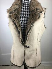 Fever Womens Size S Reversible Tan Faux Fur Suede Toggle Button Burning Man Vest