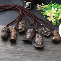 Handmade Wooden Fish Pendant Necklace Classic Elegant Chain Sweater Gift Cute