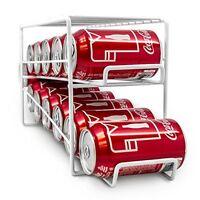 Soda Can Beverage Dispenser Rack - Holds 12 Standard Size 12oz Soda Cans (White)