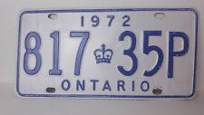 """Ontario License Plate 1972 """"817 35P"""" Canada Vintage Metal Car Garage Sign"""