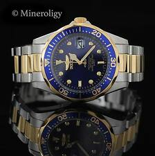 Invicta Pro Diver 18k Gold Plated Blue Dial Two-Tone Stainless Steel Men's Watch