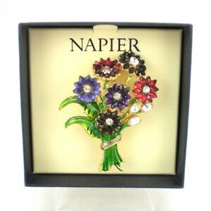 Napier Colorful Flower Bouquet Brooch Pin NEW w Gift Box Jeweled Color Gold Tone