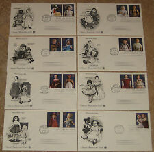 8 US First Day Covers: July 28, 1997 - Classic American Dolls 32 cent stamps