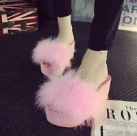 Womens Fur Open Toes Wedge Heels Slippers Platform Loafers Feather Sandals Shoes