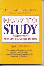 'How to Study' - A.W.Kornhauser - third edition - free pp(UK)