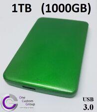 External Hard Drive 1TB (1000GB) - PC or MAC -Custom Green by OCG - Plug & Play