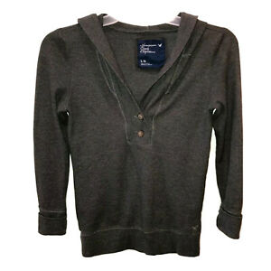 American Eagle Outfitters Womens Large Dark Gray Long Sleeve Hooded Shirt Hoodie