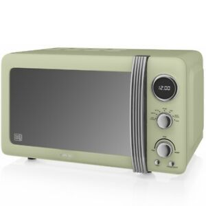 Swan 800W 20L Retro Classic Digital Microwave Green 5 Speed + Defrost Setting