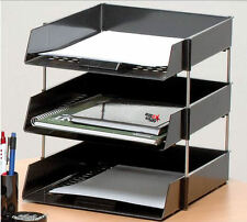 3 A4 Foolscap Letter Filing Desk Trays Black With 4 Risers In/out Paper Stacking