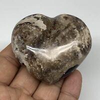 "101.4g,2.1""x2.4""x1"",  Natural Black Opal Crystal Heart Polished Reiki, B2292"