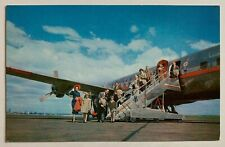 Postcard American Airlines vintage Dc-6 aircraft airplane passengers stairs