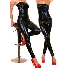 Damen Schwarz Wetlook Jumpsuit Bandeau Playsuit Overall Einteiler Party Clubwear