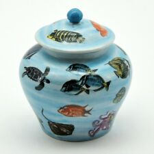 Nautical Spice Jar Ceramic Ornament Pot Storage Fish & Turtles Antique Style 10""