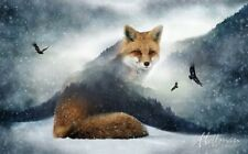"Fox Panel 43x27"" 100% cotton Fabric by Hoffman Call of the Wild, Forest, arctic"