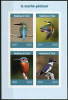 Chad 2019 MNH Kingfishers Kingfisher IMPF 4v M/S Martin-Pecheur Birds Stamps