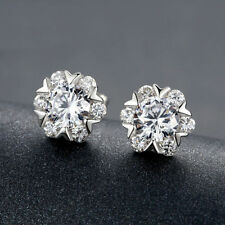 925 Sterling Silver Snowflake Stud Earring made with Cubic Zirconia Gift Box C7