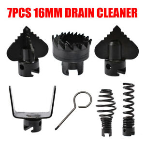 7Pcs Manganese Steel Drain Cleaner Machine Combination Cutter Head Set For Home