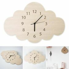 Kids Room Wall Clock Children Bedroom Silent Quiet Sweep Cartoon Cloud Modern