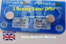 SR621 SR621SW 364 x 2 Battery Fits Seiko 7N01 7N82 7N83