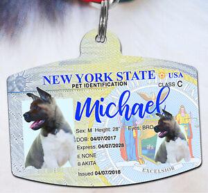 New York Driver License Pet ID tags Dog ID Tag Personalized Pet ID Tag aluminum