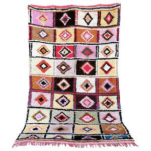 Vintage Moroccan Handmade Beni Ourain rug Boujad Azilal carpet 5 FT X 7.6 FT rug