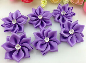 DIY purple 10pcs Satin Ribbon Flower with Crystal Bead Appliques~Craft/Trim