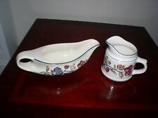 "BOOTS ""CAMARGUE"" GRAVY BOAT AND SAUCEBOAT / MILK JUG EARTHENWARE BRITISH"