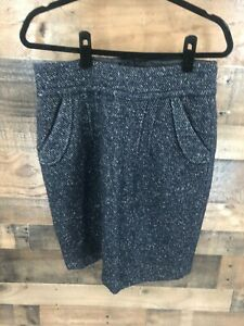 CAbi Style 738 Blair Navy & Grey Tweed Pencil Skirt with Pockets Size 8