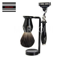 Luxury Wet Shaving Gift Set Kit -Gillette Mach 3 Razor, Badger Brush & Stand