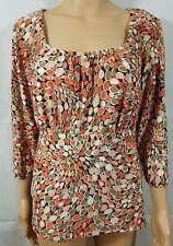 Briggs New York Womens Tunic Blouse Size 1X Orange Geometric Stretch 3/4 Sleeve