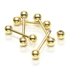 Gold IP Surgical Steel Barbell - Nipple / Scaffold / Tongue - Choose Size