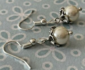 Brighton ATMA Ivory Just Pearls & Crystals Silver Scrollwork Custom Earrings