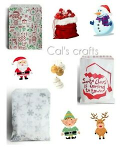 Christmas Characters Paper Counter Bags Santa Snowflake Christmas Party 2 SIZES