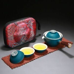 Office Porcelain Chinese Ceramic Travel Portable Teapot & Cups With Serving Tray