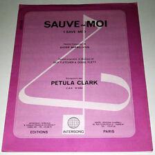 Partition vintage sheet music PETULA CLARK : Sauve Moi (Save Me) * 70's