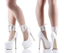 White Ankle Strap Snake Skin Print Platforms Womens High Heels Shoes Size 7.5