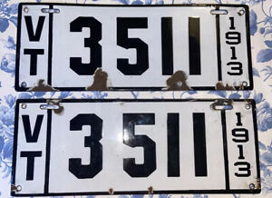 MATCHED PAIR OF 1913 AUTHENTIC ANTIQUE VERMONT LICENSE PLATES USED By USM READ!!