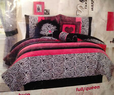 "Seventeen Comforter Set ""Natasha"" 2pc TWIN  Pink Black & White Animal Zebra NEW"